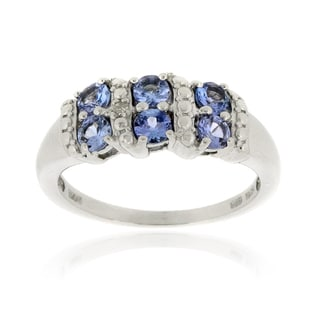 Glitzy Rocks Sterling Silver Tanzanite and Diamond Accent Ring