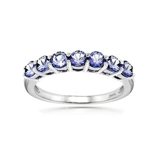 Glitzy Rocks Sterling Silver Tanzanite Eternity Ring