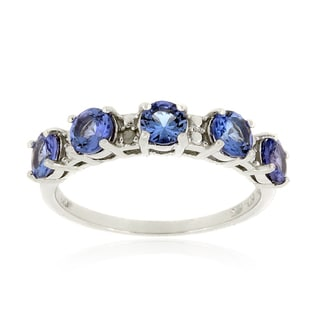 Glitzy Rocks Sterling Silver Tanzanite and Diamond Accent Eternity Ring
