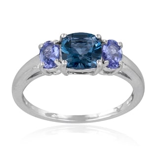 Glitzy Rocks Sterling Silver Tanzanite And London Blue Topaz 3 Stone Ring