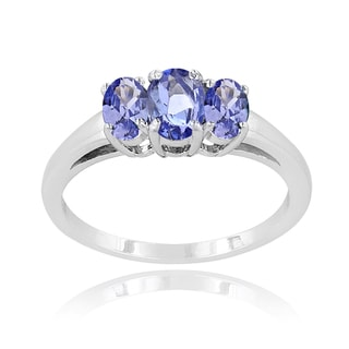 Glitzy Rocks Sterling Silver Tanzanite 3-stone Ring