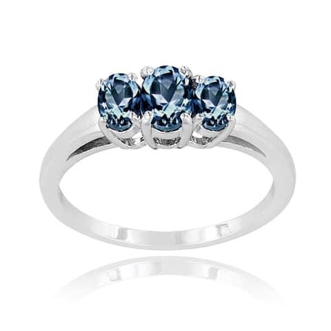 Glitzy Rocks Sterling Silver Tanzanite and London Blue Topaz 3-stone Ring