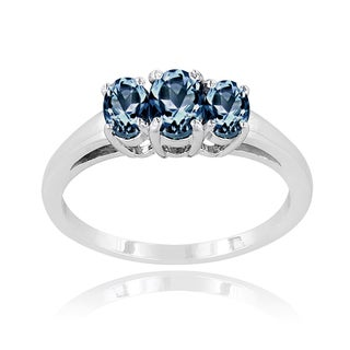 Glitzy Rocks Sterling Silver Tanzanite and London Blue Topaz 3-stone Ring