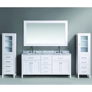 Design Element London 72-inch White Double Sink Vanity Set with Two matching Linen Cabinets