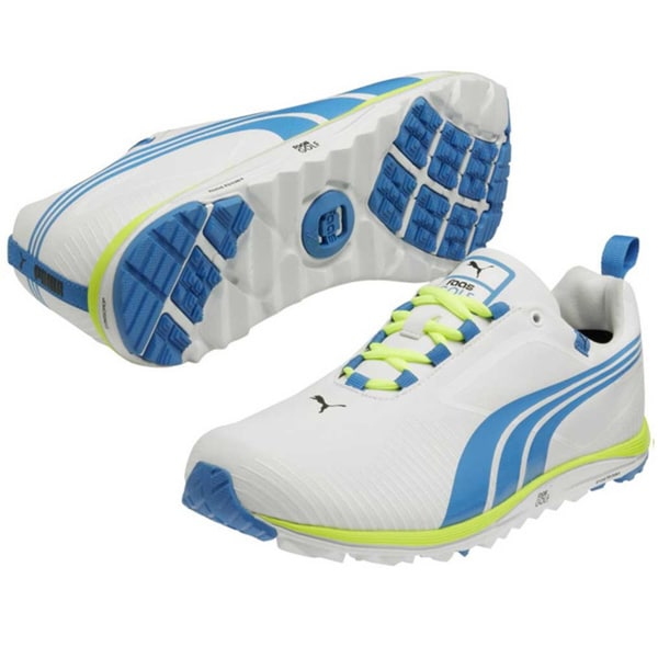 Puma Men's Faas Lite White-Blue Aster-Fluo Yellow Golf Shoes