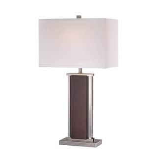 Lite Source Rektor 1-light Table Lamp Polished Steel with Dark Walnut