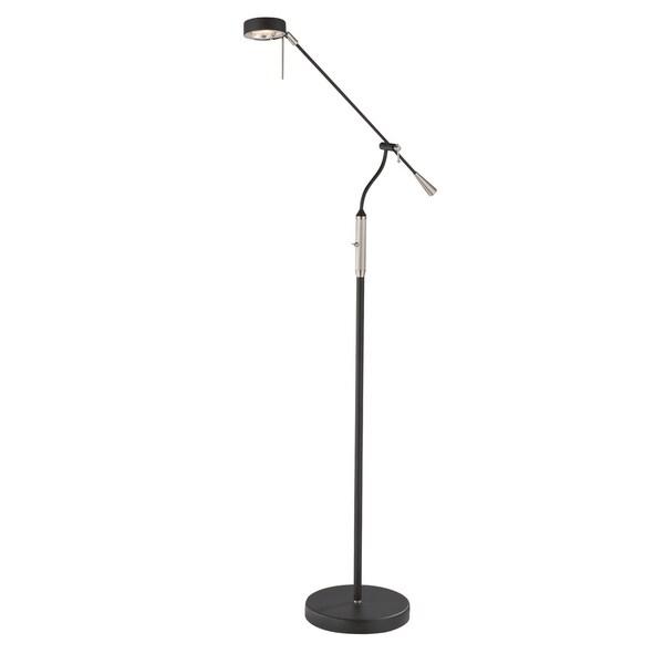 Lite Source Alogene 1-light Floor Lamp Polished Steel with Black