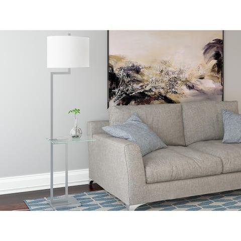 Lite Source Rudko 1-light Polished Steel Floor Lamp w/ Integrated Glass Table