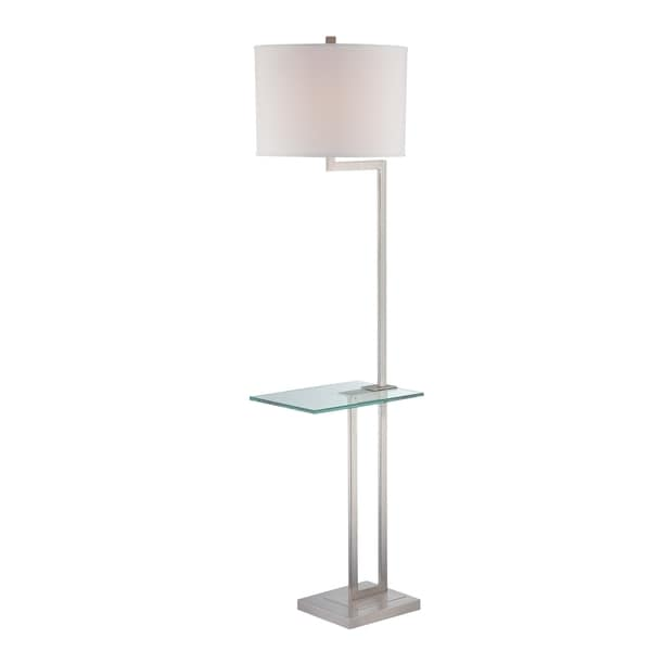 Beautiful Lite Source Rudko 1 Light Floor Lamp Polished Steel With Glass Table   Free  Shipping Today   Overstock.com   16686469