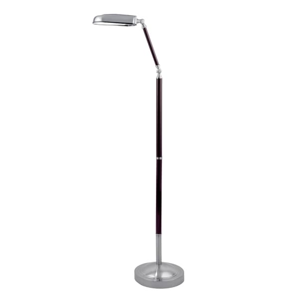Lite Source Nuncio 1-light Floor Lamp Polished Steel with Cherry Wood