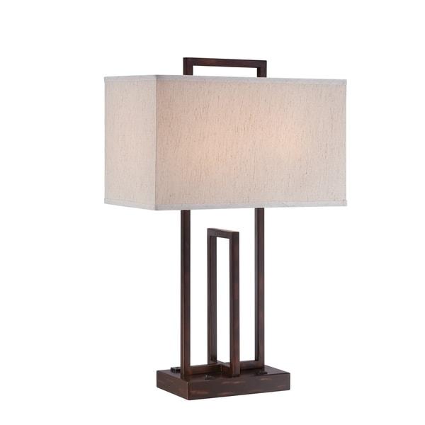 Dark Bronze Lite Source Farren 2-light Table L&  sc 1 st  Overstock & Shop Dark Bronze Lite Source Farren 2-light Table Lamp - Free ...