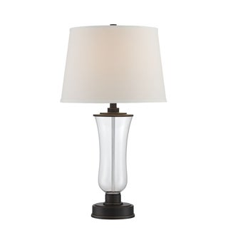 Lite Source Prisco 1-light Table Lamp Dark Bronze with Clear Glass and White