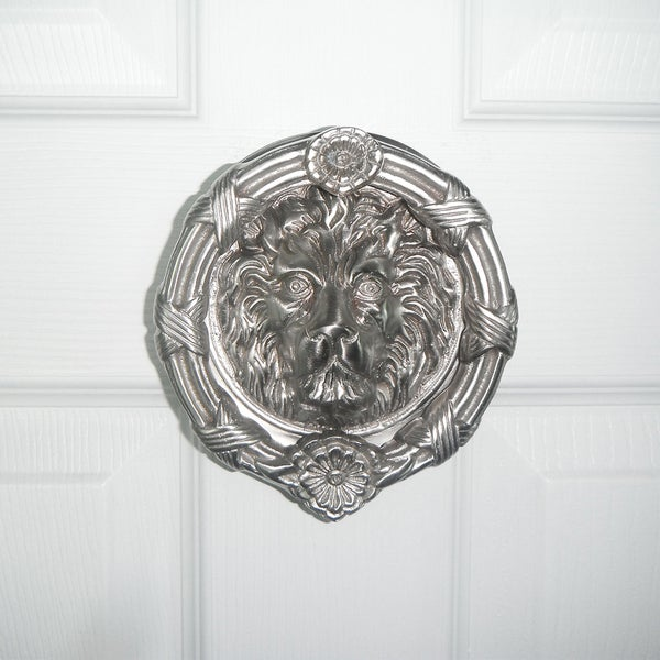 Highpoint Collection Satin Nickel 6 Inch Lion Head Door Knocker