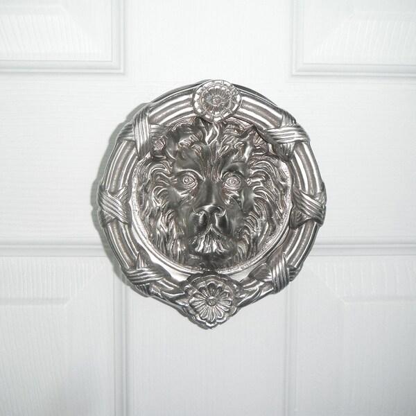 Highpoint Collection Satin Nickel 6 Inch Lion Head Door Knocker