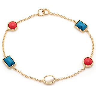 Sterling Essentials Goldplated Silver Multi-stone Cabochon Bracelet