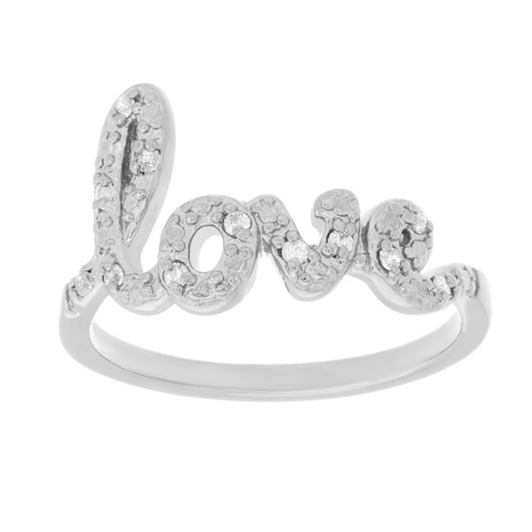 Sterling Essentials Silver Small Script Love Word Ring