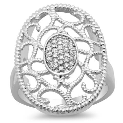 Sterling Essentials Silver Cubic Zirconia Oval Filigree Milligrain Ring