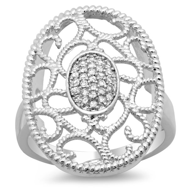 Sterling Essentials Silver Cubic Zirconia Oval Filigree Milligrain Ring