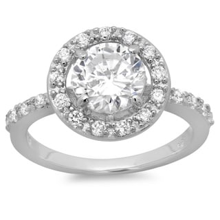 Link to Roberto Martinez Silver Cubic Zirconia Halo Engagement Ring Similar Items in Rings