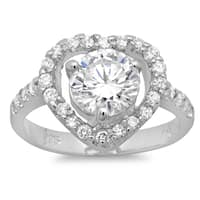 Sterling Essentials Sterling Silver Cubic Zirconia Heart Solitaire Ring