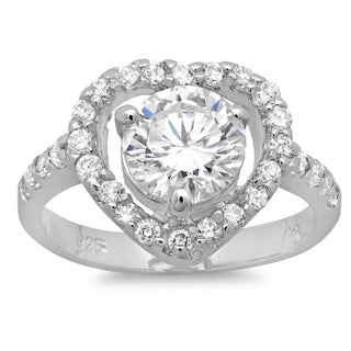 Link to Roberto Martinez Sterling Silver Cubic Zirconia Heart Solitaire Ring Similar Items in Rings