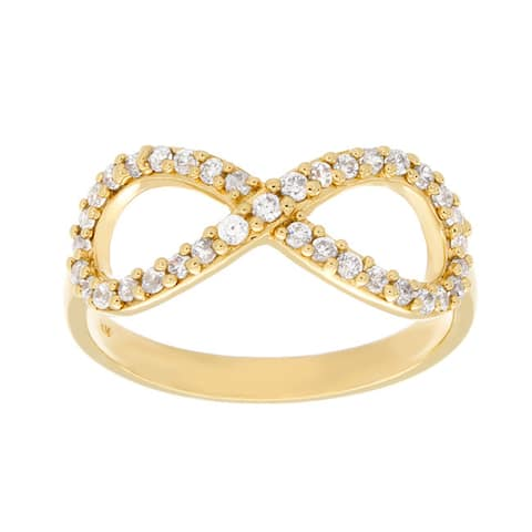 Sterling Essentials Gold over Silver Cubic Zirconia Infinity Ring