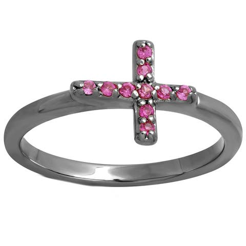 Sterling Essentials Silver Pink Cubic Zirconia Sideways Cross Ring