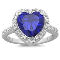 Sterling Essentials Silver Purple Cubic Zirconia Heart Ring