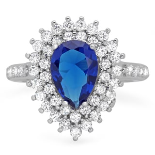 Sterling Silver Royal Blue Pear-cut Cubic Zirconia Ring