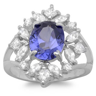 Sterling Silver Purple and White Cubic Zirconia Cluster Ring