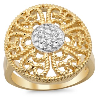 Sterling Essentials Goldplated Silver Cubic Zirconia Filigree Cocktail Ring