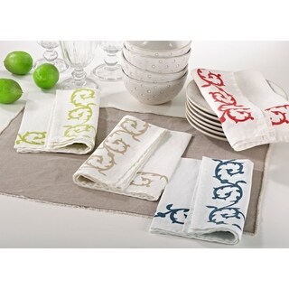 Swirl Design Stone Washed Napkins (Set of 4)