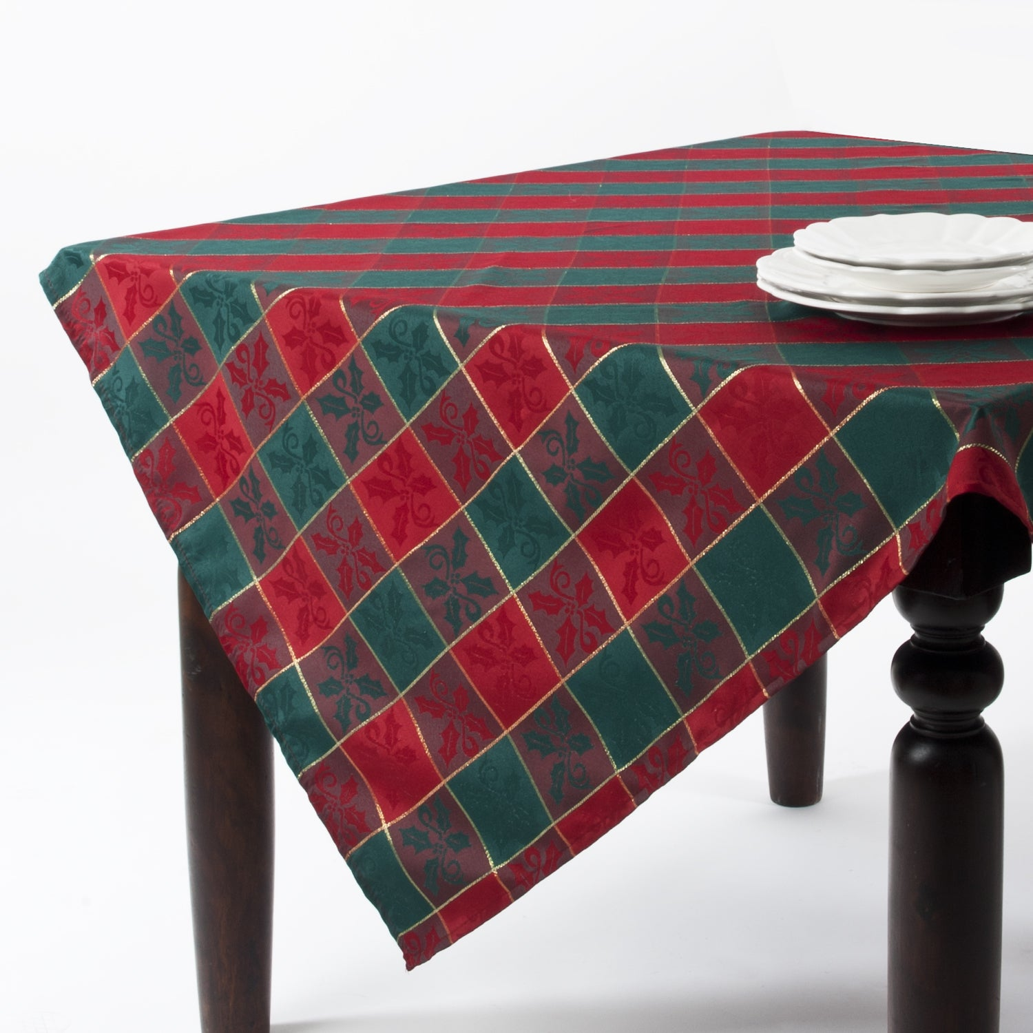 Saro Plaid Design Square Tablecloth (104 x 65 - Green) (P...