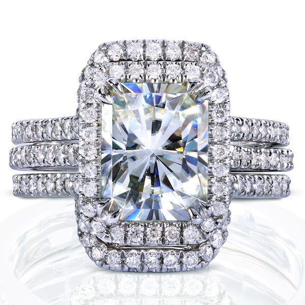 Annello by Kobelli White Gold 3 3/8ct TGW Radiant Moissanite and Diamond Rectangular Halo Bridal Rings Set (3 Piece Set). Opens flyout.