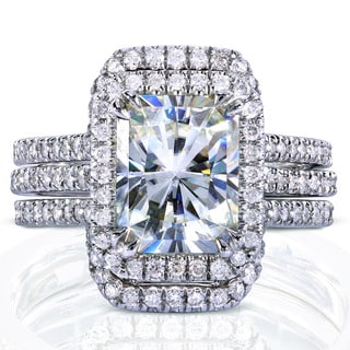 Annello 14k White Gold Radiant-cut Moissanite and 5/8ct TDW Diamond Halo Bridal Set (G-H, I1-I2)