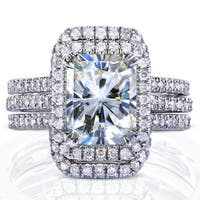 Annello by Kobelli White Gold 3 3/8ct TGW Radiant Moissanite and Diamond Rectangular Halo Bridal Rings Set (3 Piece Set)