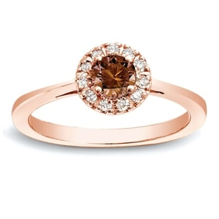 Auriya 14k Rose Gold 1/2ct TDW Brown Round Diamond Halo Ring (SI1-SI2)