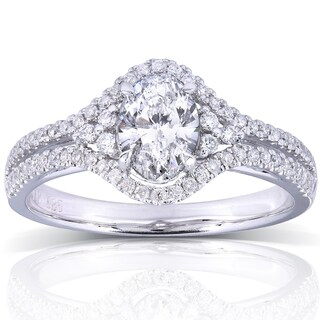 Annello by Kobelli 14k White Gold 1ct TDW Oval Diamond Engagement Ring (More options available)