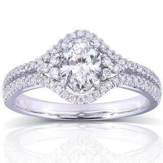 Annello by Kobelli 14k White Gold 1ct TDW Oval Diamond Engagement Ring (H-I, I1-I2)