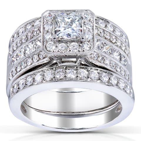 Annello 14k White Gold 1 4/5ct TDW Princess-cut Halo Diamond 3-piece Bridal Set