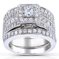 Annello 14k White Gold 1 4/5ct TDW Princess-cut Halo Diamond 3-piece Bridal Set