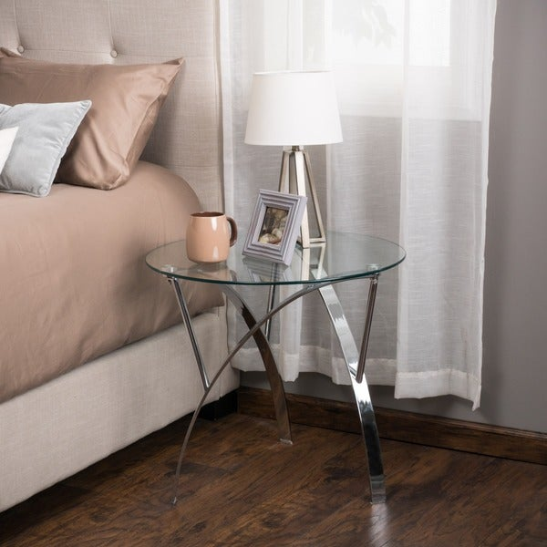 Marin Round Glass End Table (Set Of 2) By Christopher Knight Home   Free  Shipping Today   Overstock.com   16687192