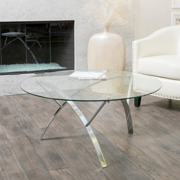 Exceptional Marin Round Glass Coffee Table By Christopher Knight Home   Free Shipping  Today   Overstock.com   16687193