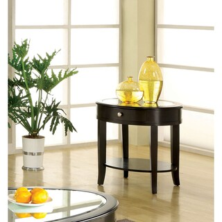 Furniture of America Slovaria Dark Walnut Glass-top End Table