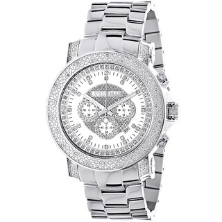 Luxurman Men's 3/4ct TDW White Diamond Chronograph Watch