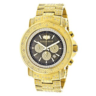 Luxurman Iced Out Yellow Goldplated Men's 2ct White Diamond Watch