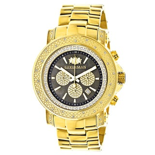Luxurman Yellow Goldplated Escalade 3/4ct White Diamond Chronograph Watch