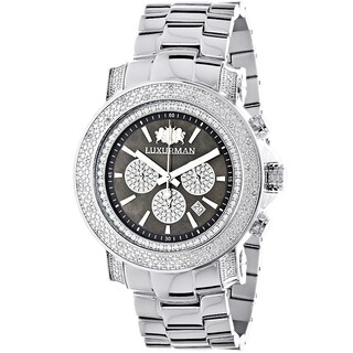 Luxurman Escalade Heavy Men's 3/4ct Diamond Black Mother of Pearl Chronograph Watch with Metal Band