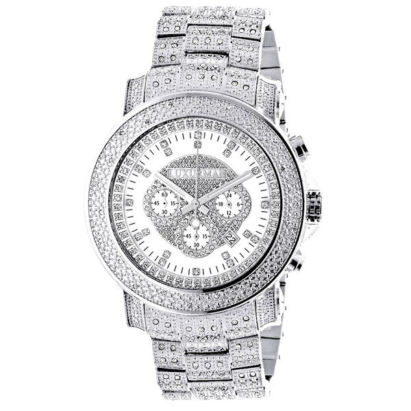 Luxurman Stainless Steel Iced Out 2ct White Diamond Chronograph Watch
