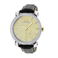 Luxurman Men's Gold Two-tone 1/5ct Diamond Watch with Black Leather Band and Leather Strap Set